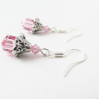 Pink Cube Earrings - Pink Crystal Cube Earrings - Pink Swarovski Crystal Elements Earrings - Sterling Silver Earrings - Cute Summer Jewelry