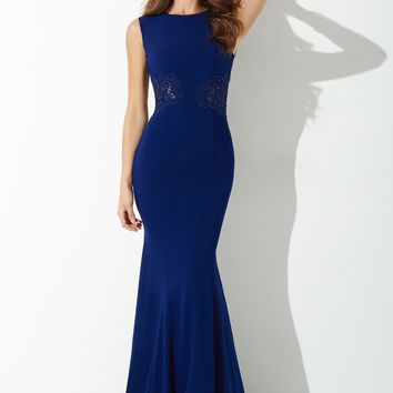 Navy Fitted Jersey Evening Dress 25666