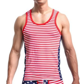 Man Undershirts/American Flag Print Male Cotton Spandex Muscle Tank tops/Gay Sexy Bodysuit Vest