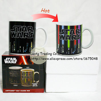 Drop Star Wars Lightsaber Heat Reveal Mug color change coffee cup sensitive morphing mugs include Gift Box
