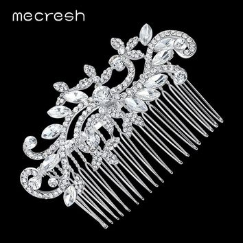 Mecresh Leaf Crystal Bridal Wedding Hair Accessories Hair Combs Crown Tiara Wedding Hair Jewelry FS001