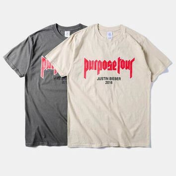 ONETOW New fashion 2016 mens hip hop tops tee shirts Justin Bieber Fear Of God Purpose Tour t shirt tshirts for men