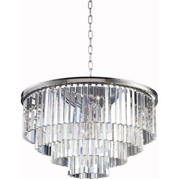 "Sydney 32"" Diam Chandelier, Polished Nickel, Clear Crystal, Royal Cut"