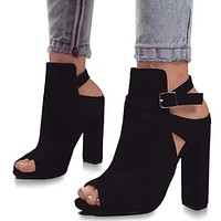 Gladiator High Heels Strap Pumps Buckle Strap Shoes