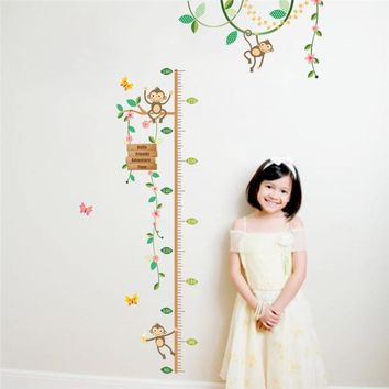 Monkeys Height Measure Wall Stickers For Kids Rooms Flying Butterfly 3d Garden flower Height chart Nursery Room Decor Poster