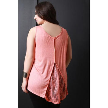 Lace Button Up Back Sleeveless Top