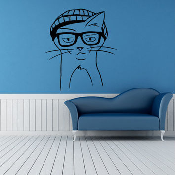 Wall Decor Vinyl Sticker Room Decal  Cat Animal Pet Cap Points Glasses Mustache Hipster (s31)