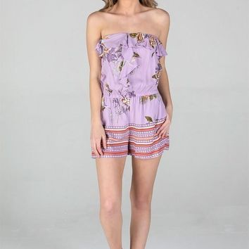 Women's Strapless Romper with Center Ruffle
