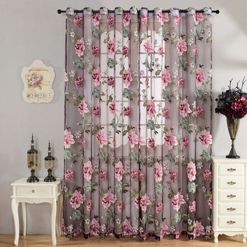 Flower Curtain Transparent Tulle Curtains