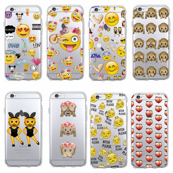 Funny Emoji  smiley Monkey Cartoon Heart Soft Clear Phone Case Fundas Coque For iphone 7 7Plus 6 6S 6Plus 5 5S SE 5C 4 SAMSUNG
