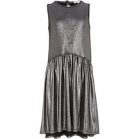 River Island Girls black liquid metallic dress