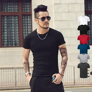 Fashion Solid Color T Shirt Men's O-Neck Tops Tees Yeezy Shirts Pokemon go Style Print