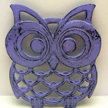 Owl Trivet Hot Plate French Lavender Purple Lilac Shabby Chic Distressed Kitchen Rustic Woodsy Decor Aqua Blue Ornate Cast Iron