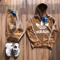 Adidas Casual Hoodie Top Sweater Pants Trousers Set Adidas Two-piece Sportswear