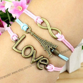 Eiffel Tower in Paris bracelets - LOVE bracelet - infinity charm bracelet - light blue - pink leather cord - blessing - girlfriend and BFF