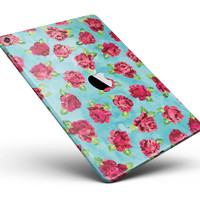 """Shabby Chic Flowers over Aqua Watercolor Pattern Full Body Skin for the iPad Pro (12.9"""" or 9.7"""" available)"""