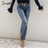 High waist jeans female Pocket boyfriend jeans women bottoms Blue patchwork pants flare jeans pants Capri