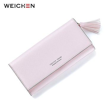 WEICHEN Fashion Pink Tassels Wallet For Women Lady Long Clutch Wallets Brand Female Change Purse Hasp Coin Pocket Card Holder