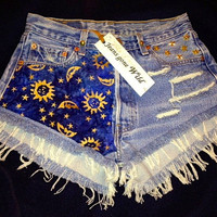 High waist destroyed studded denim super frayed shorts size Sm/Med/Lg.