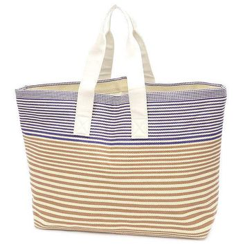 HERMES Tote Bag Reversible Stripe Canvas White / Brown / Blue Free Shipping