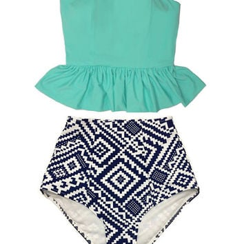 Mint Long Peplum Tankini Tankinis Top and Graphic High Waist Waisted Swimsuit Swimsuits Swimwears Bikini set Bathing Swim wear suit S M L XL