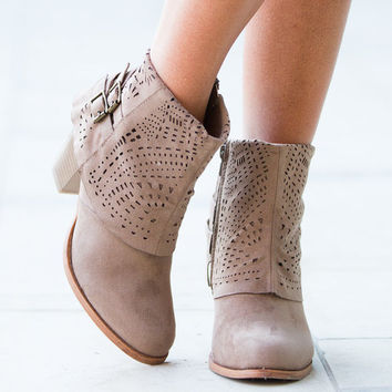 The Perfect Laser Cut Designed Booties Taupe