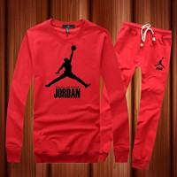 One-nice™ Jordan Woman Men Long Sleeve Shirt Top Tee Pants Trousers Set Two-Piece Sportswear