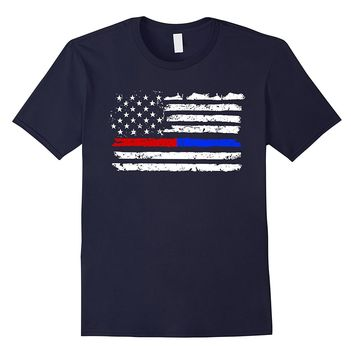 Firefighter Police Red Blue Line American Flag T-shirt