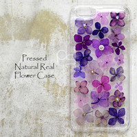 XCC Purple Pressed Real Dry Flower Floral Bling Hard Skin Case Cover For iPhone 6 6s 7 Plus SE Samsung Galaxy Note Edge LG G5