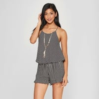 Women's Striped High Neck Tank Top - Le Kate (Juniors') Black/White