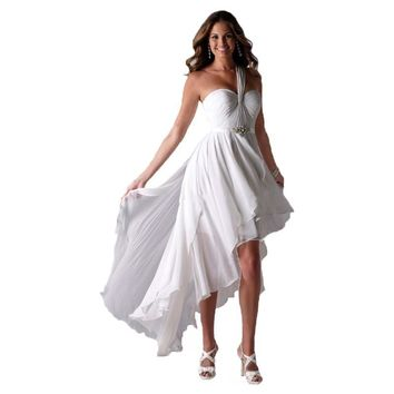 vestido de noiva One Shoulder High Low Short Front Long Back Beach Wedding Dresses Bride Gowns
