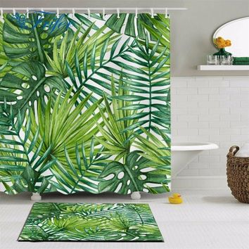 Fabric Polyester 3D Green Leaf Printed Waterproof Shower Curtain Tropical Plants Printing Custom Curtain For Bathroom