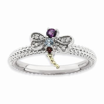 Sterling Silver & 14k Gold Stackable Expressions Gemstone & Diamond Dragonfly Ring