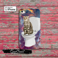 Cat On A Toilet Funny Space Kitty Galaxy Cool Tumblr Inspired Custom iPhone 4 and 4s Case and Custom iPhone 5 and 5s and 5c Case