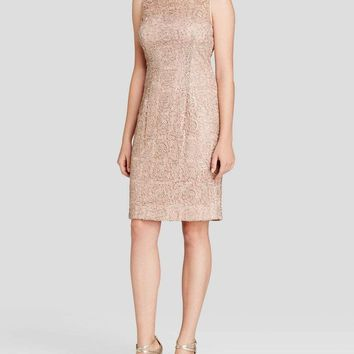 Adrianna Papell - Sleeveless Illusion Lace Cocktail Dress 41889120