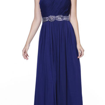 One Shoulder Navy Blue Prom Dress Chiffon Front Slit