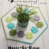 Pattern Table Topper or Table Runner Merry Go Round Hexagon Shape Atkinson Designs