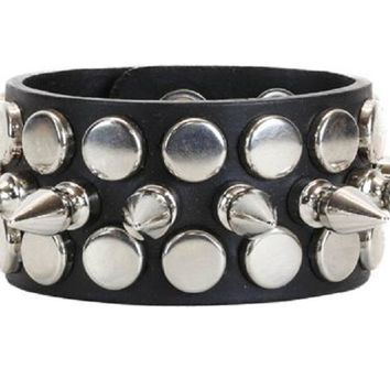 Silver Spikes & Studs Black Leather Wristband Bracelet Cuff