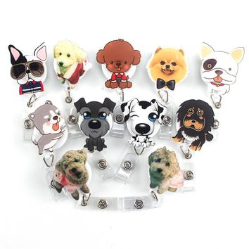 1Pcs Mini Cartoon Dog Retractable Badge Reel 2017 The New Student Nurse Exihibiton ID Name Card Badge Holder Office Supplies