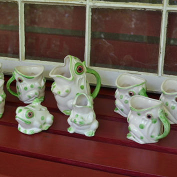 Vintage Frog Tea Set Ceramic Sugar and Creamer Pot 6 Cups Green and White Retro PanchosPorch