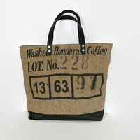 Large tote bag, up-cycled coffee bean sack, original tote bag, canvas shoulder bag, key-cord , black leather straps, up-cycled jeans, OAAK