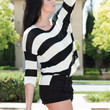 Black & White Loose-Knit Striped Sweater