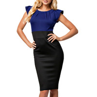 New Fashion Women Summer Dress Elegant O Neck Butterfly Sleeve High Waist Slimming Wear To Work Office Sheath Pencil Dresses