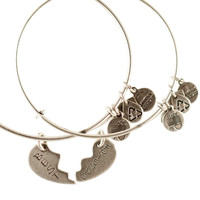 Alex and Ani Best Friends Set of 2 Expandable Wire Bangles Russian Silver