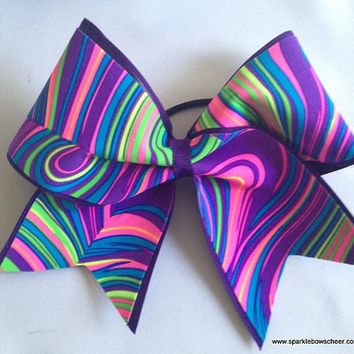 Neon Twister Medium Youth Cheer  Hair Bow by SparkleBowsCheer