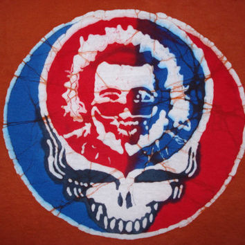 Men or Women Batik Steal your Face Red and Blue Jerry Garcia Grateful Dead Short Sleeve  Tshirt