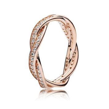 PANDORA Rose Twist of Fate Ring with Clear Cubic Zirconia