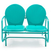Aqua Blue Teal Turquoise Steel Frame Outdoor Bench Loveseat Glider Chairs