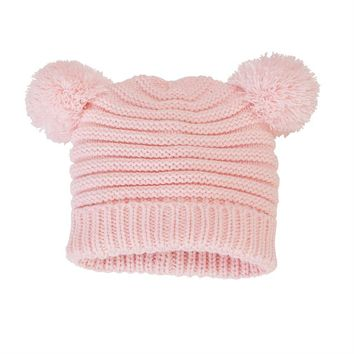 MUD PIE PINK POM-POM KNIT HAT