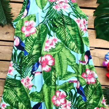 Tropical Toucan Floral Racerback Dress - Blue